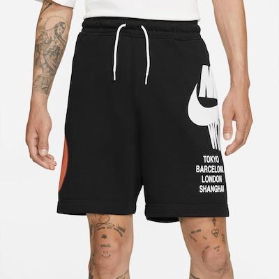 Nike Sportswear Nohavice - oranžovo červená / čierna / biela, Model/-ka