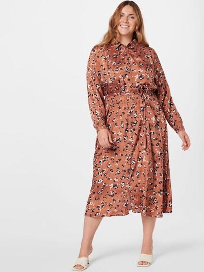 KAFFE CURVE Kleid 'Miliany' in braun / schwarz / weiß, Modelansicht