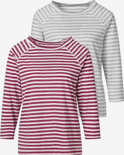 HIS JEANS Shirt in grau / weinrot / weiß, Produktansicht