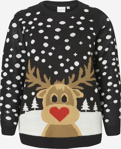 Junarose Sweter w kolorze jasnobrązowy / mieszane kolory / czerwony / czarny / białym, Podgląd produktu