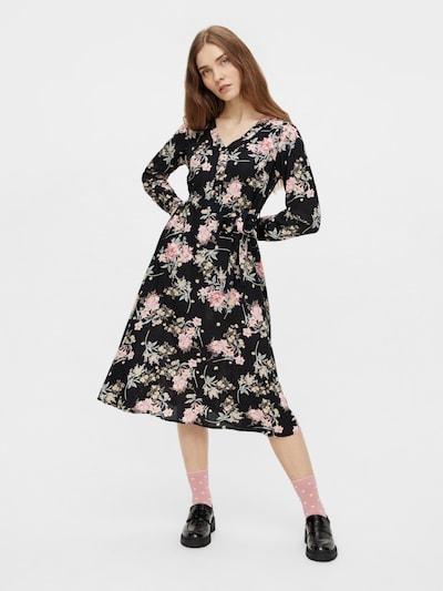 PIECES Kleid 'Paola' in grün / rosé / schwarz, Modelansicht