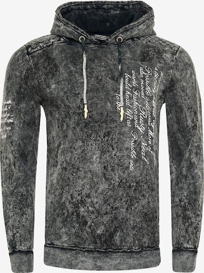 Rusty Neal Sweatshirt in verwaschenem Look mit Schriftzug in anthrazit, Produktansicht