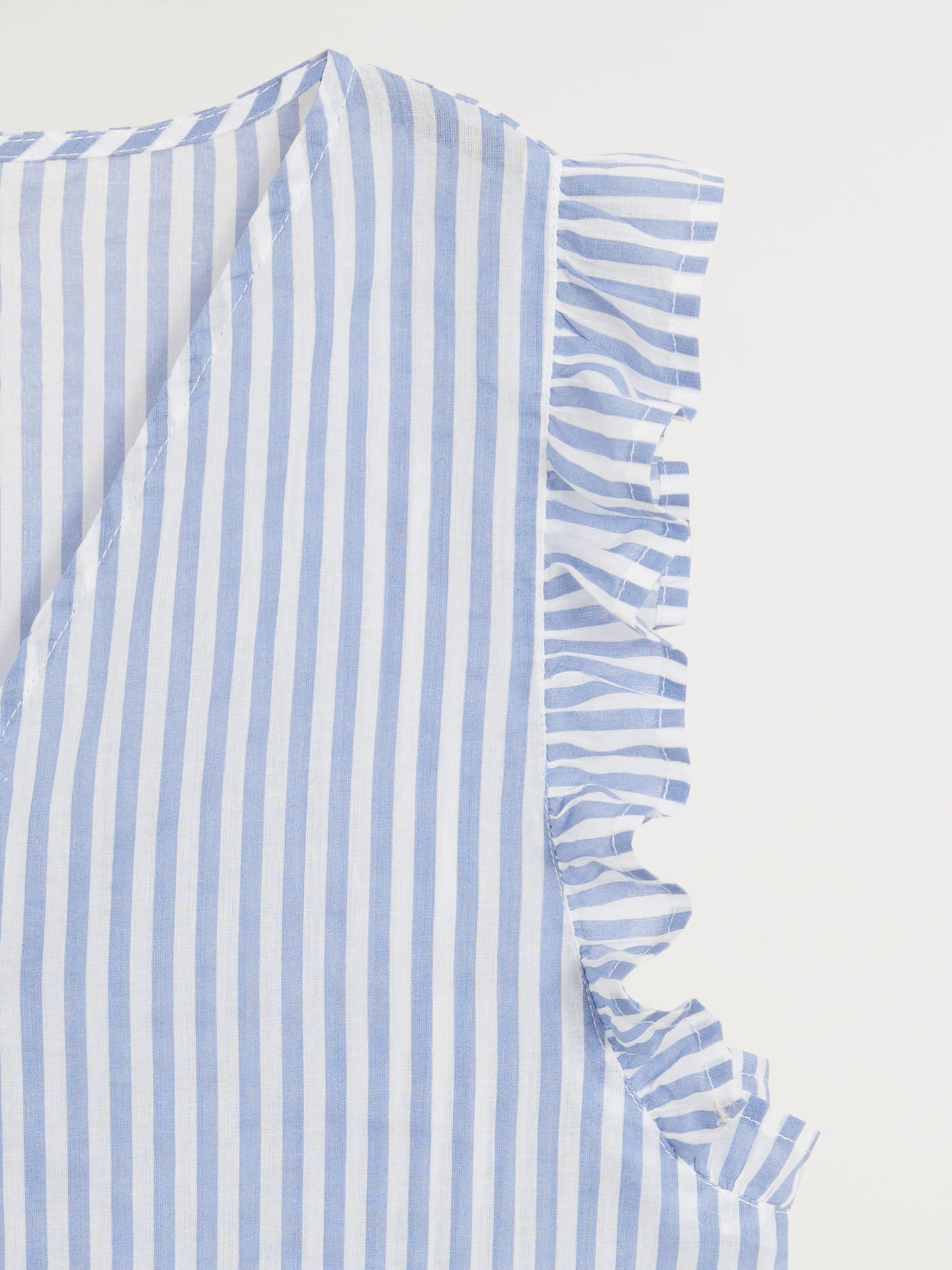MANGO Blúz 'Pauli' kék / fehér színben