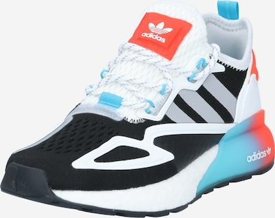 Sneaker low 'ZX 2K Boost' ADIDAS ORIGINALS pe albastru cyan / gri / roșu neon / negru / alb, Vizualizare produs
