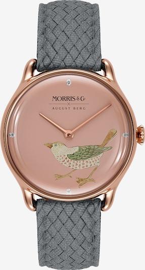 August Berg Uhr 'MORRIS & CO Rose Gold Bird Grey Perlon 30mm' in rosegold / grau / pink, Produktansicht