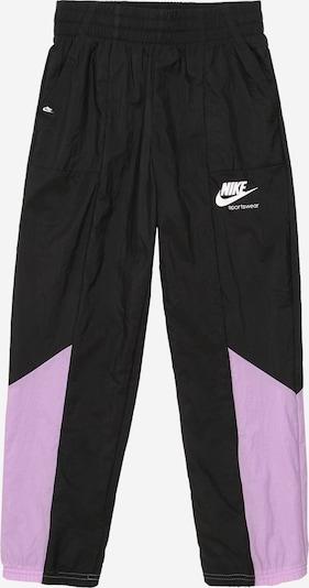 Nike Sportswear Pantalon en violet / noir / blanc, Vue avec produit