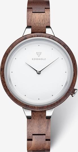 Kerbholz Uhr in braun / weiß, Produktansicht