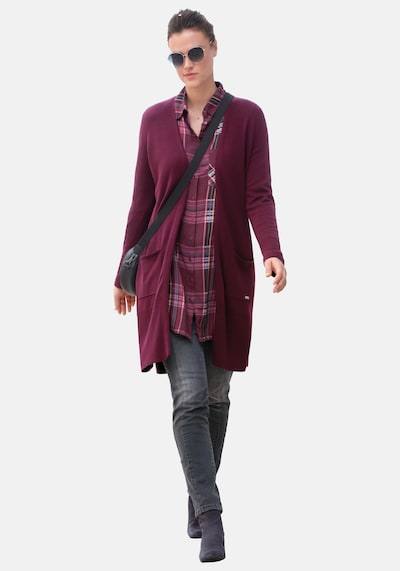 Emilia Lay Strickjacke in rot / bordeaux / weinrot, Modelansicht
