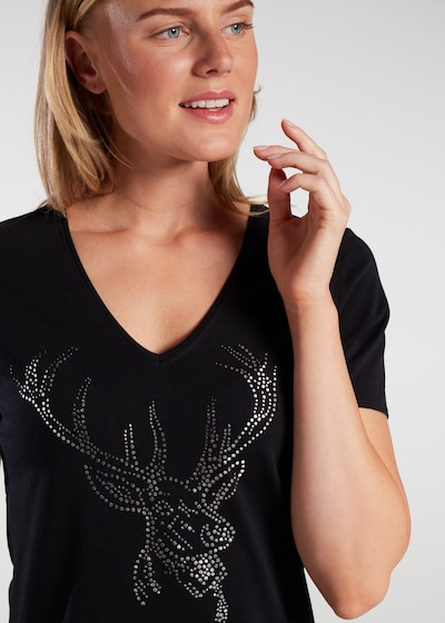 """SPIETH & WENSKY T-Shirt """"Never"""" in schwarz / weiß, Modelansicht"""