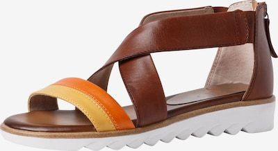 JANA Sandales en marron / jaune / orange, Vue avec produit