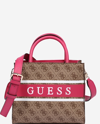 GUESS Handtas 'Monique' in de kleur Bruin / Lichtbruin / Pink / Wit, Productweergave