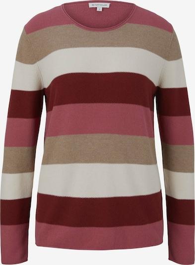 TOM TAILOR Pullover in beige / dunkelpink / offwhite, Produktansicht