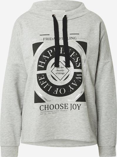 Cartoon Sweatshirt in graumeliert / schwarz / silber, Produktansicht