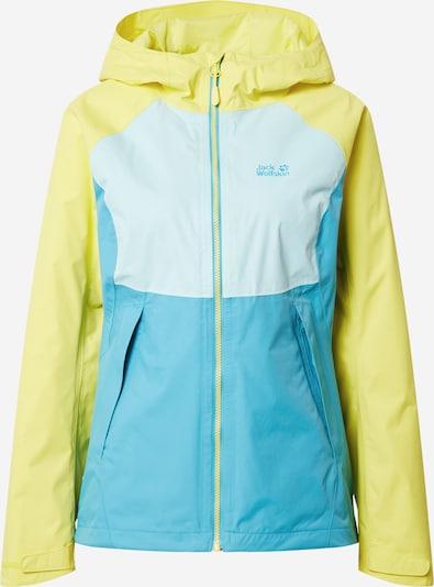 JACK WOLFSKIN Veste outdoor 'MOUNT ISA' en turquoise / bleu clair / jaune, Vue avec produit