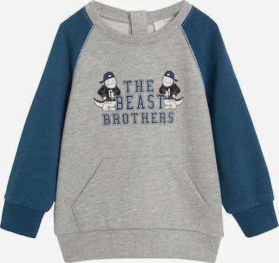 MANGO KIDS Sweatshirt 'LUCAS' in taubenblau / graumeliert / schwarz / weiß, Produktansicht