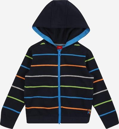 s.Oliver Junior Sweatjacke in blau / dunkelblau / grau / grün / orange, Produktansicht
