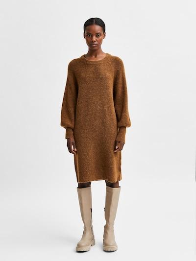 SELECTED FEMME Stickad klänning 'Lulu' i brun: Sedd framifrån