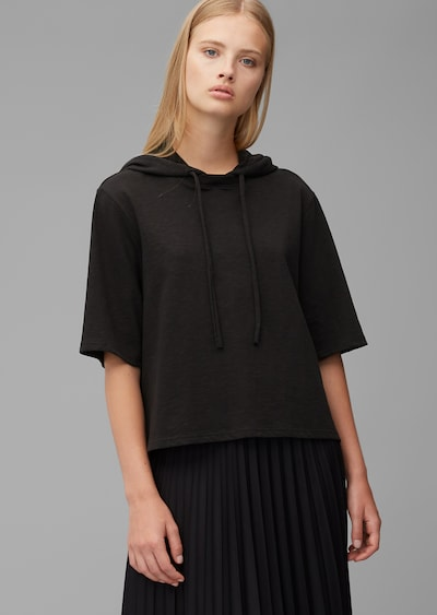 Marc O'Polo DENIM Kurzarm-Hoodie ' aus Organic Cotton ' in schwarz: Frontalansicht