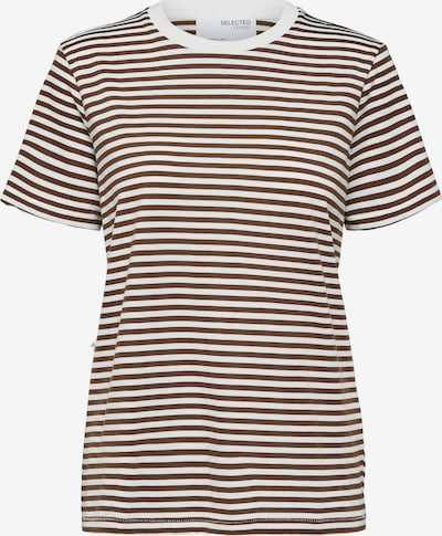 SELECTED FEMME T-Shirt ' SLFMY PERFECT TEE' in de kleur Donkerbruin / Wit, Productweergave
