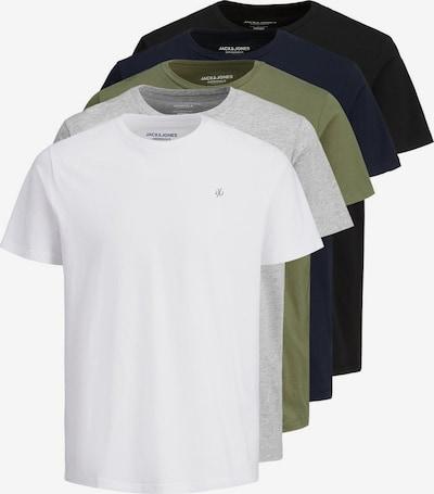 JACK & JONES T-Shirt in navy / graumeliert / oliv / schwarz / weiß, Produktansicht