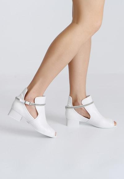 Ekonika Stylische Stiefelette aus echtem Leder in weiß: Frontalansicht