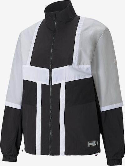 PUMA Jacke 'Court Side' in grau / schwarz / weiß, Produktansicht