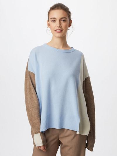 MOS MOSH Пуловер 'Layla' в бежово / светлосиньо / кафяво: Изглед отпред