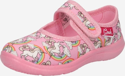 BECK Zapatillas de casa 'Rainbow' en piel / lima / verde claro / rosa / blanco, Vista del producto