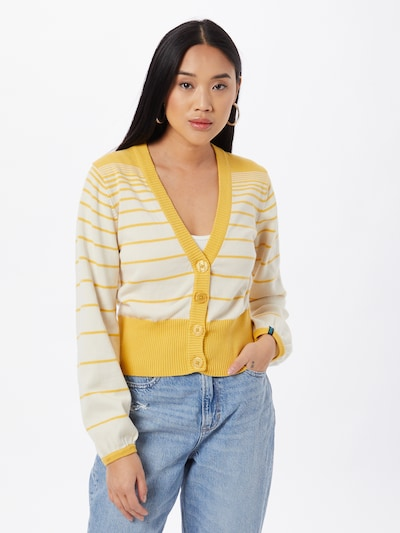 Tranquillo Strickjacke in gelb / weiß, Modelansicht