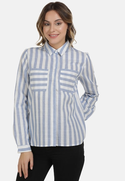 DreiMaster Vintage Bluse in rauchblau / weiß, Modelansicht