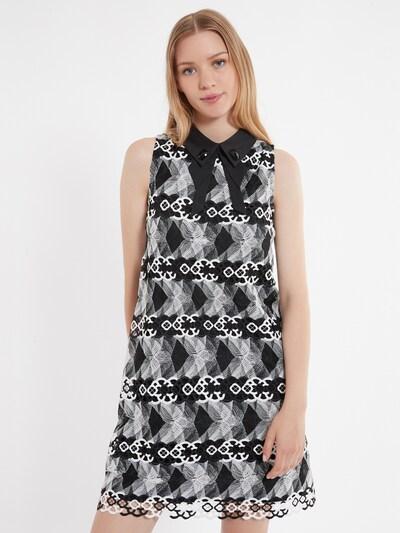 Ana Alcazar A-Linienkleid ' Zeby ' in grau / schwarz / weiß, Modelansicht