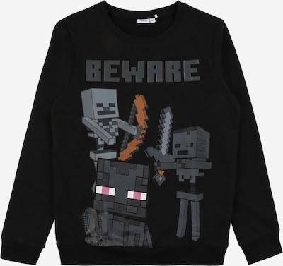 NAME IT Sweatshirt 'MINECRAFT' in rauchblau / grau / dunkelorange / schwarz / weiß, Produktansicht