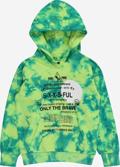 DIESEL Sweatshirt in smaragd / neongrün / schwarz / weiß, Produktansicht