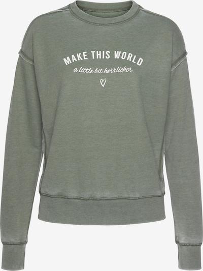 Herrlicher Sweatshirt in oliv / weiß, Produktansicht
