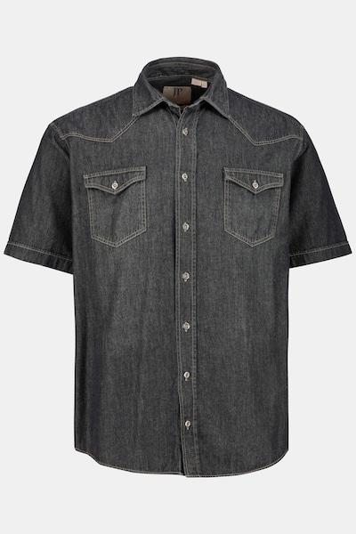 JP1880 JP 1880 Herren große Größen bis 7XL, Halbarm-Hemd, Denimhemd, Kentkragen & 2 Brusttaschen, Modern Fit, reine Baumwolle  718464 in schwarz, Produktansicht