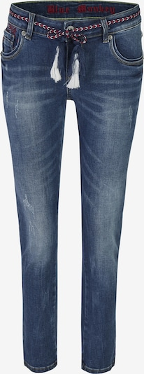 Blue Monkey Skinny Fit Jeans Cherry mit Kordelgürtel und rotem Kontraststepp in blau, Produktansicht