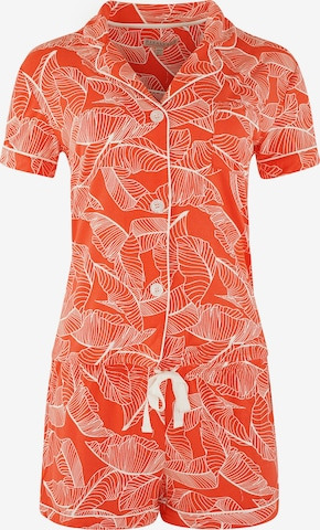 PJ Salvage Shorty Pyjama ' Red Leaves ' in Rot