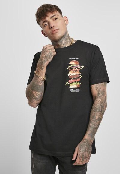 Mister Tee T-Shirt 'A Burger' in hellbeige / dunkelbraun / senf / hellgrün / schwarz: Frontalansicht