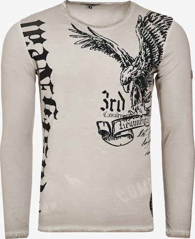 Rusty Neal Cooles Langarmshirt mit 'American Eagle'-Print in beige: Frontalansicht