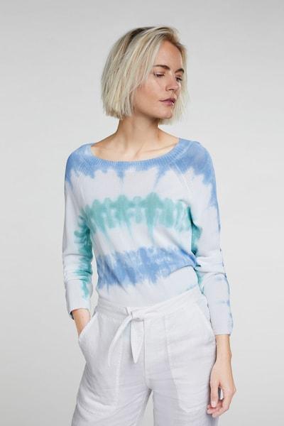 OUI Feinstrickpullover in blau / weiß, Modelansicht