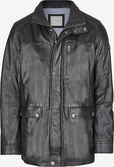 bugatti Lederjacke mit Steppungen und Ziernähten in schwarz, Produktansicht