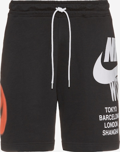 Nike Sportswear Nohavice - oranžovo červená / čierna / biela, Produkt