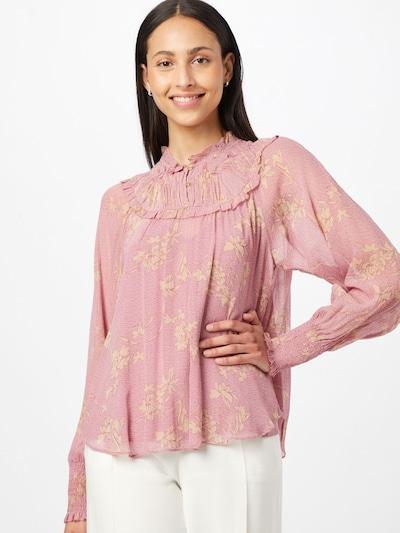 SECOND FEMALE Blouse in de kleur Pasteelgeel / Rosé / Donkerroze, Modelweergave