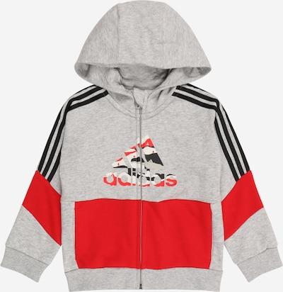 ADIDAS PERFORMANCE Sportsweatjacke in graumeliert / rot / schwarz, Produktansicht