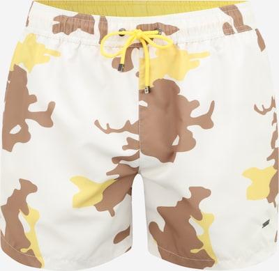 BOSS Casual Plavecké šortky 'Spotfish' - světle hnědá / žlutá / bílá, Produkt