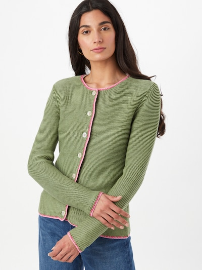 LIEBLINGSSTÜCK Knitted costume cardigan in Olive / Pink, View model