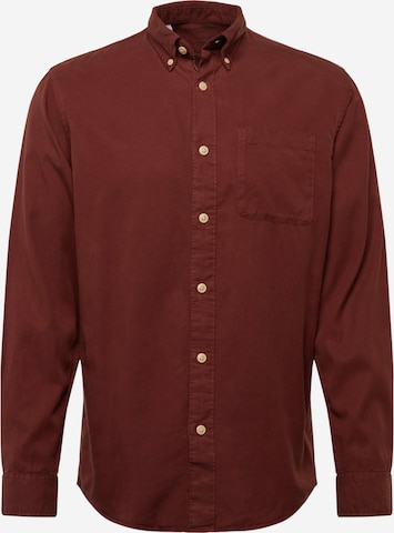SELECTED HOMME Button Up Shirt 'Rick' in Brown