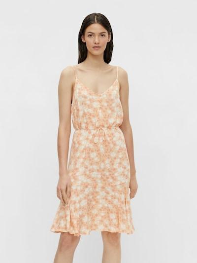 PIECES Sommerkleid 'Nya' in pastellorange / dunkelorange / weiß, Modelansicht