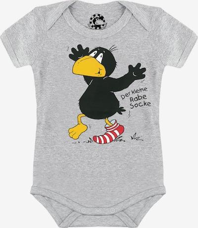 LOGOSHIRT Babybody 'Der kleine Rabe Socke - Socke' in gelb / grau / dunkelrot / schwarz, Produktansicht