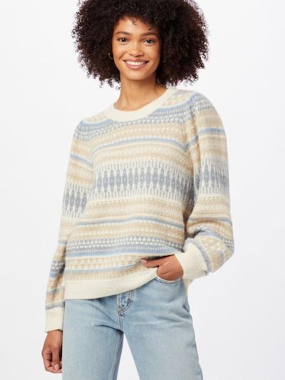 Part Two Pullover 'Kalla' in beige / dunkelbeige / rauchblau / taubenblau, Modelansicht